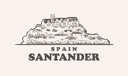 Santander cityscape sketch hand drawn ,spain vector illustration