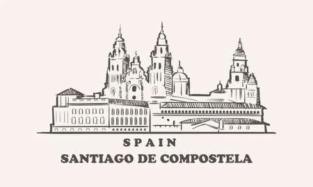 Santiago De Compostela cityscape sketch hand drawn , spain vector illustration 矢量图像