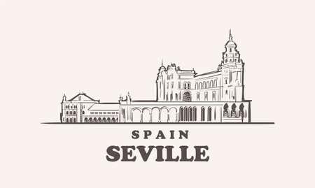Seville cityscape sketch hand drawn ,spain vector illustration