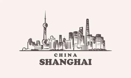 Shanghai cityscape sketch hand drawn ,china vector illustration