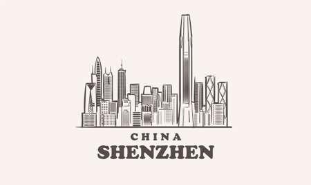 ShenZhen cityscape sketch hand drawn ,china vector illustration