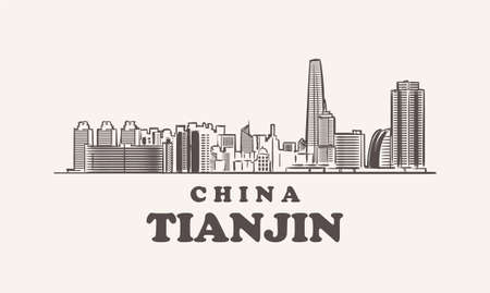 Tianjin cityscape sketch hand drawn ,china vector illustration 矢量图像
