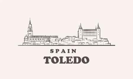 Toledo cityscape sketch hand drawn , spain vector 矢量图像