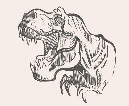 The snarling dinosour Tyrannosaurus ,vector illustration art