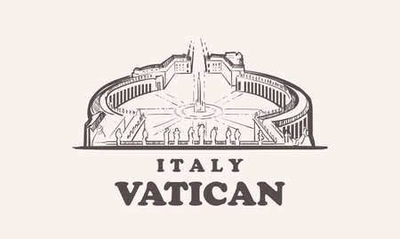 Vatican cityscape sketch hand drawn ,italy vector illustration