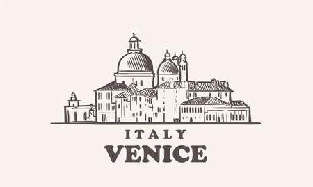Venice cityscape sketch hand drawn ,italy vector illustration 矢量图像