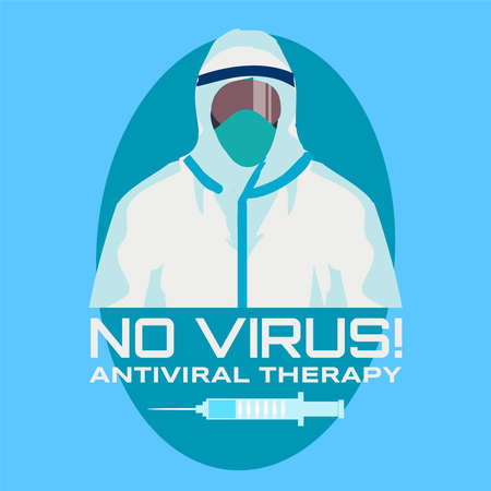 No virus Preventive therapy with a doctor in a chemical suit ,vector illustration