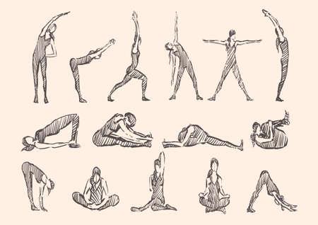 Yoga gymnastics fitness poses Exercises , vipassana vector
