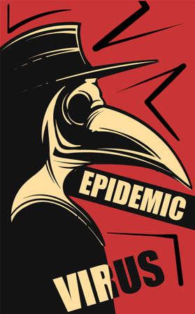 Plague doctor, epidemic virus,vector illustration art red