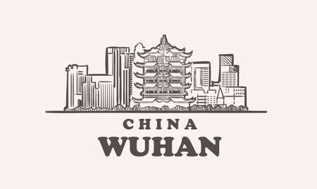 Wuhan cityscape sketch hand drawn ,china vector illustration