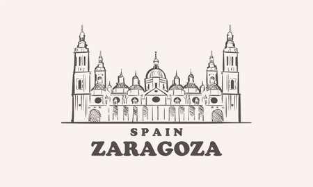 Zaragoza cityscape sketch hand drawn ,spain vector illustration