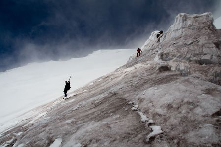 climbers on the descent from Volcano Cotopaxi, 5890 metres