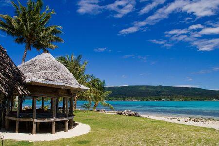 a tropical beach hut in samoa, south sea Stock Photo