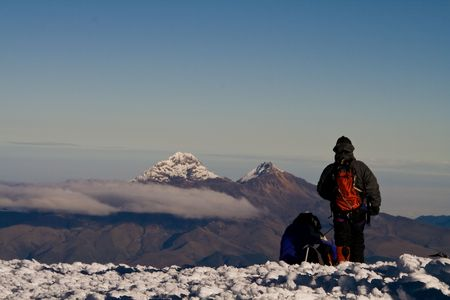 sunrise on the top of volcano cotopaxi, 4980 metres Stock Photo