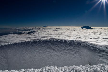 Ice structure on the summit of cotopaxi, ecuador