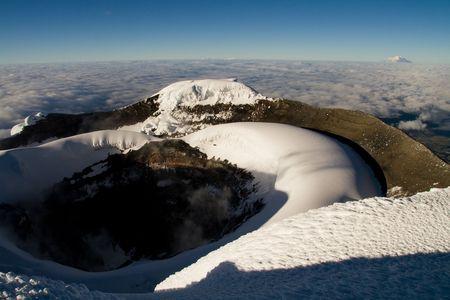 sleeping volcano crater of cotopaxi, ecuador