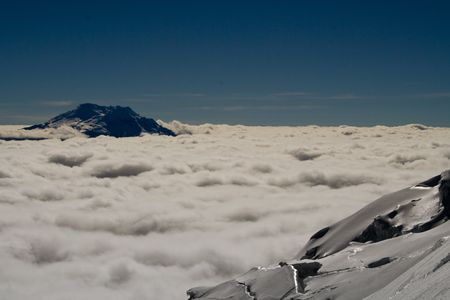 mountain view from volcano cotopaxi at about 5000 metres Stock Photo