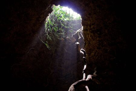the only way out of a cave adventure