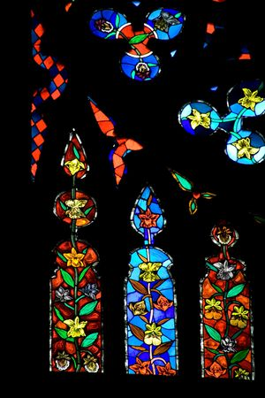a stained window in a church in Quito, Ecuador