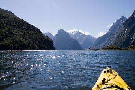 Milford Sound, New Zealand - Kayak Tour Stock Photo