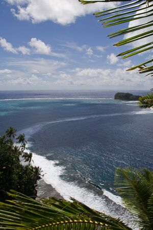 panorama view from the top of a tropical island in samoa
