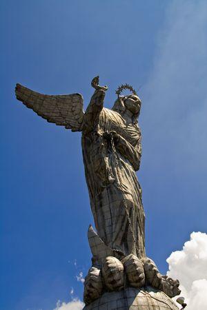 landmark of quito, ecuador. The virgin of quito