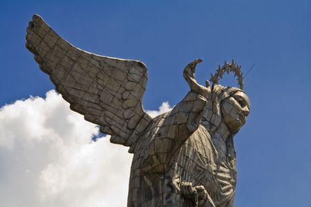 close up of the virgin of quito, ecuador