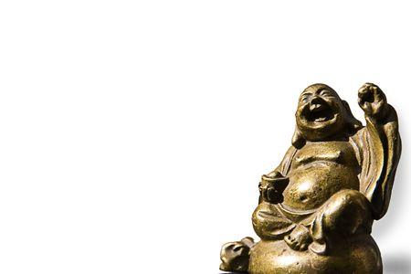 Golden Buddha holding an apple in the sun and having fun! Stock Photo