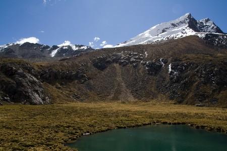 bright blue lake in the cordillera blance, peru