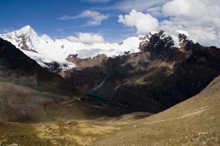 panorama view of the cordillera blanca in peru photo