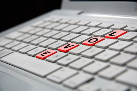 white notebook keyboard with red love letters