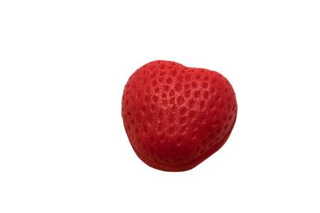 isolated strawberry heart on white background Stock Photo