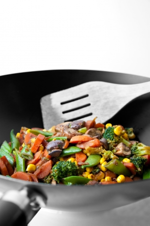 colorful vegetables in a black and white envirnonment