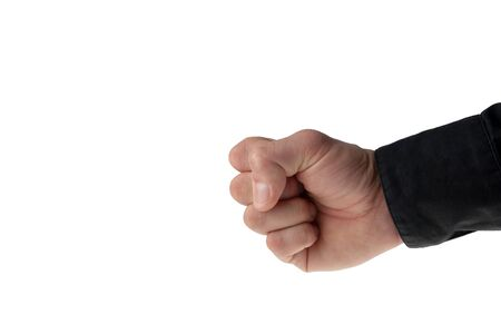 young mans hand with a black business shirt sleeve - isolated on white