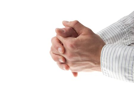 young mans hand with a white business shirt sleeve - isolated on white Stock Photo