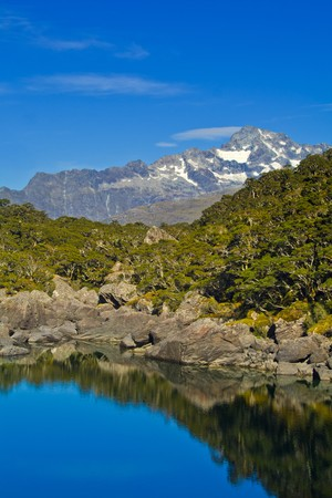 cold, clear, blue lake in the mountains with nice reflections and trees Stock Photo - 7239198