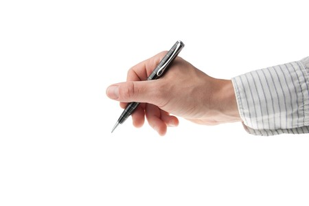 young mans hand writing with a shiny pen isolated on white Фото со стока