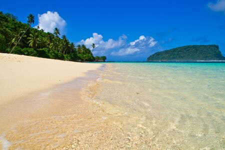 white sand beach with blue sky and green palm trees Stock Photo