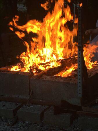 burns night: Camp fire at night