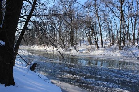 icy winter river Banco de Imagens