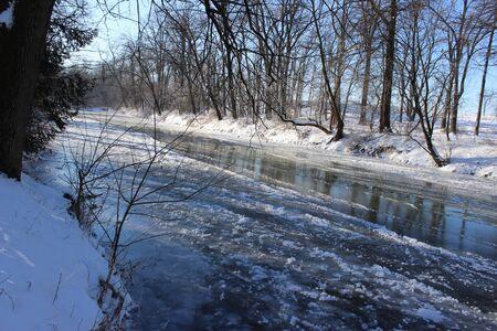 icy river Banco de Imagens