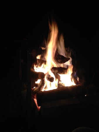glowing camp fire