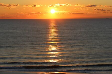 sunset on ocean Banco de Imagens