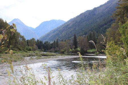 Blue Mountains with stream Banco de Imagens
