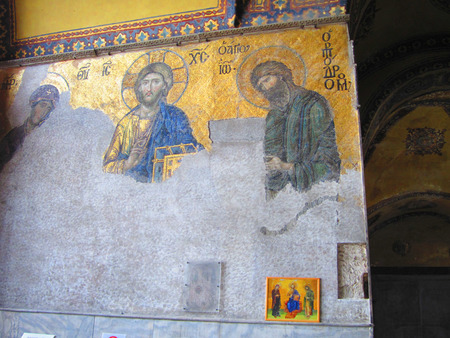 A Byzantine mosaic in the old church Hagia Sophia
