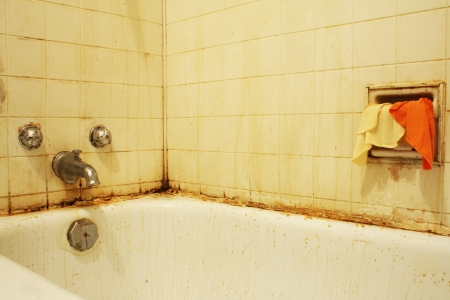 bathroom tiles: A filthy bathtub with mold and stains and dirty water   Concept for poverty or renovation repair  Stock Photo