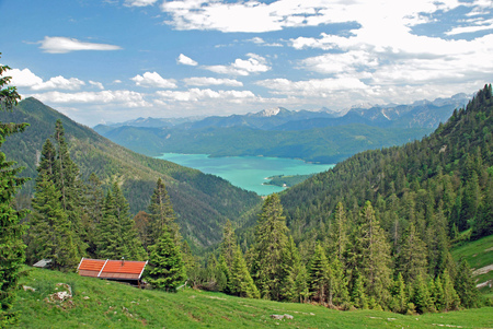 Beautiful panorama of Walchensee in the bavarian alps Stok Fotoğraf