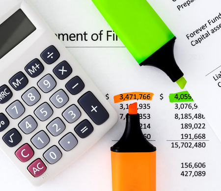 Financial statements with Calculator, highlighters