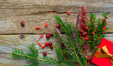 Christmas background with firtree heather and berryes on old wooden background. Present in red box.