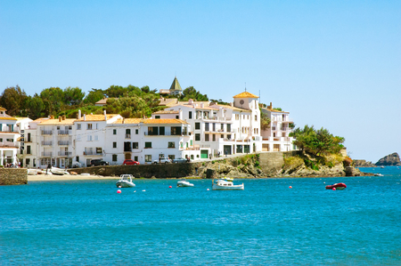 Seaside view of famous mediterranean town Cadaques, former residence of Salvador Dali, Catalonia Stock Photo